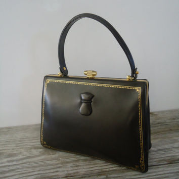 Brown Leather Golden Trim Box Purse , 1950 Vintage Kelly Bag Purse Handbag