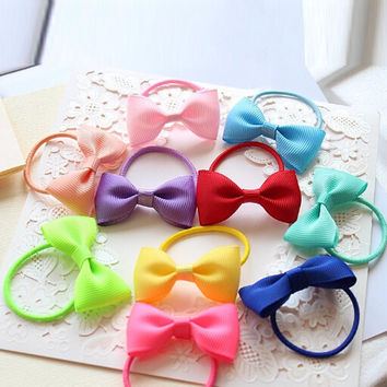 1PC Colorful Baby Girls Hair Ropes Ribbon Bows Elastic Hair Rubber Bands Kids Ponytail Holder Children Hair Accessories Ties Gum