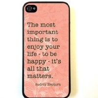 iPhone 5 Case ThinShell Case Protective iPhone 5 Case AUdrey Hepburn Quote ENjoy Life Coral