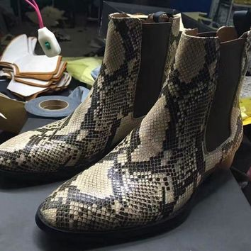 Limited Nice New Chelsea Boots Point Toe Kanye West Boots Genuine Leather Snakeskin Leopard Euro And America Mid Heel GD
