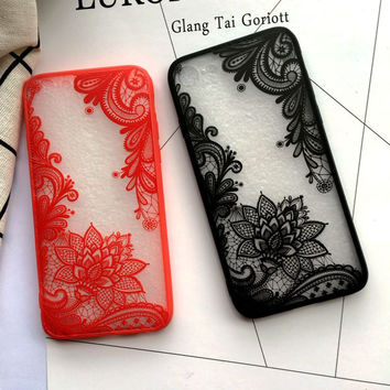 Sexy Lace Flowers Mandala Phone Case for iPhone 6 Case for iphone 6s 6 Plus 7 Plus 5S 5 Fashion Paisley Henna Clear Case Cover