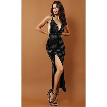No Stopping Us Black Beaded Sleeveless Spaghetti Strap Plunge V Neck Slit Bodycon Maxi Dress