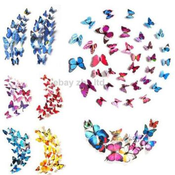 DCCKL72 12PCS/Set 3D Butterfly Sticker PVC Wall Decor Cute Colorful Butterflies Wall Stickers Art Decals Home Decoration Wedding Gifts