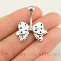 bow Belly Button Rings, dot Navel Jewelry, bow belly button jewelry,cute bow, friendship bellyring,bff gift
