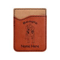 1519 Beagle Standing Forward Cell Phone Wallet Personalized with Your Dog's Name - FREE SHIPPING