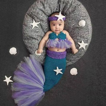 Newborn Baby Crochet Photography Props Princess Girls Mermaid Costume for Photo Shoot Infant Beanies Caps Warm Baby Outfits Set