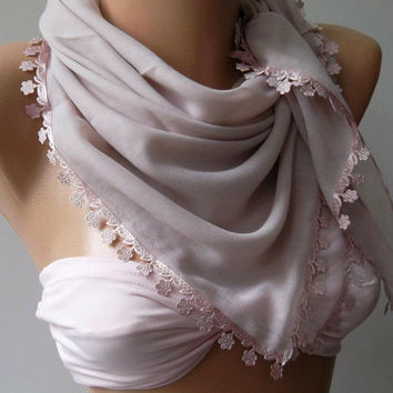 Pink - Shawl with Lace - Turkish Shawl - Anatolians Scarf - Yemeni