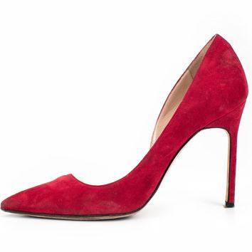 ca spbest Manolo Blahnik Red Suede Pumps Sz 40