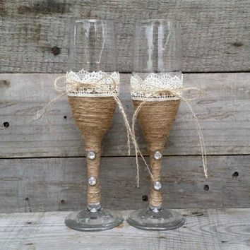 Rustic Wedding Toasting Gles With Twine And Lace Champagne Flutes Bride Groom