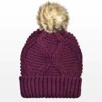 Fur Pompom Cable Hat