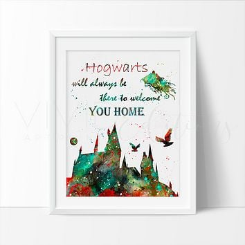 Hogwarts Quote, Harry Potter Watercolor Art Print