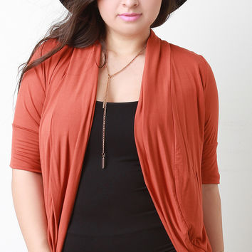 Solid Jersey Knit Elbow Sleeves Open Front Cardigan