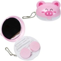 JAVOedge 3D Pink Pig Compact Style Contact Lens Carrying Case Travel Kit with Keychain Holder, Mirror, Tweezers
