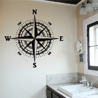 Compass Rose Wall Decal Vinyl Sticker Wall Decor Nursery Home Art Nautical SM179