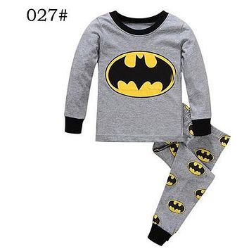 2017 Infantil Kids Clothes Boy Batman Pijamas nenos Pixama Cotton Baby Boy Pijamas Set Superman Pajama Bebe manga longa Pixama  1