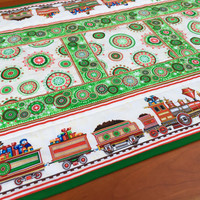Quilted Christmas Runner-Train Lovers Christmas Decorations-Holiday Table Runner- Christmas Trains-Christmas Table Linens