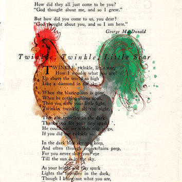 Red and Green Rooster Book Page Art Poem Page Art Upcycled Art Print Antique Book Pages Rooster Print cp364
