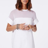 Missguided - Amara Mesh Panel T-Shirt Dress White