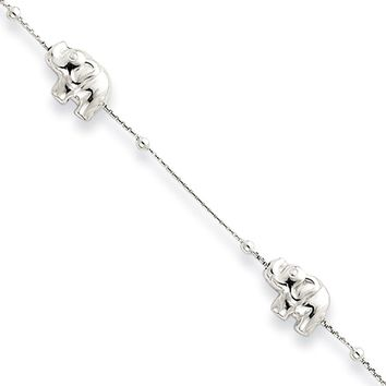 Sterling Silver 1mm Box Chain And Elephant Charm Anklet, 9-11 Inches