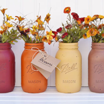 Fall Decor - You Pick a Set: 2 or 3 or 4 Fall Jars - PAINTED MASON JARS, Fall Decoration, Mason Jar Centerpiece, Rustic Wedding, Vases