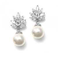 Cluster Earrings with Pearl Drop