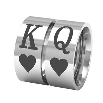 Trendy King Queen Heart Ring 316L Stainless Steel Men Women Couple Ring AT_94_13