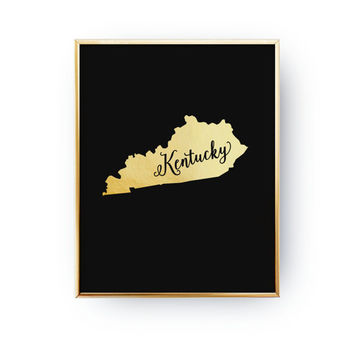 USA State Poster, Real Gold Foil Print, Kentucky Print, Kentucky State Print, Gold USA State Print, Kentucky State Map, Kentucky Silhouette