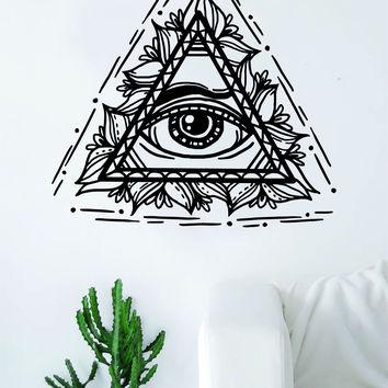 All Seeing Eye V2 Wall Decal Sticker Room Art Vinyl Home House Decor Illuminati Beautiful Boho Nature Flowers