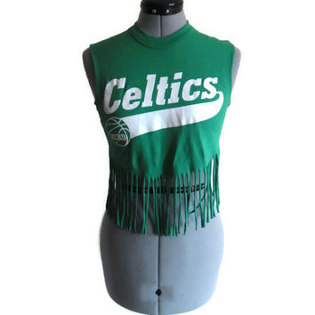Upcycled Fringe Shirt Kelly Green Celtics 11 Repurposed T-Shirt Vintage XS Small