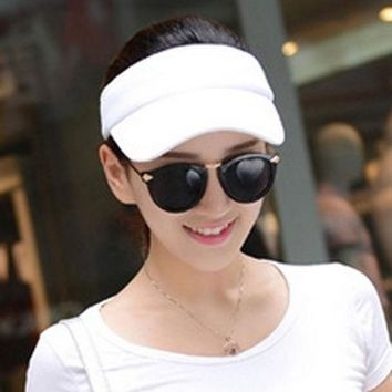 DCCKDZ2 Fashion Adjustable Solid Women Summer Sun Visor Hat Sport Golf Tennis Baseball Caps Hollow Top 56-60cm Adjustable HT-01665
