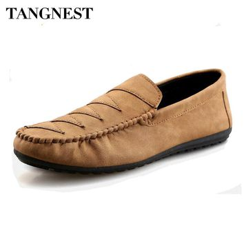 Tangnest Vintage PU Leather Men Loafers Casual Driving Shoes Men British Style Slip-on Flats 2017 Fashion Men's Shoes XMR2634