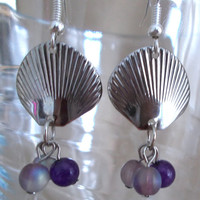 Silver Sea Shell & Purples Dangle Earrings, Handmade, Beach Style, Ladies Gift, Nautical, Casual Elegance, Ocean Inspired, Fashion Jewelry