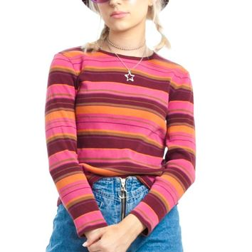 Vintage 90's Berry Smoothie Stripe Rib Top - One Size Fits Many