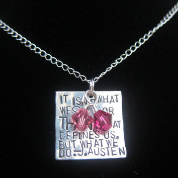 Jane Austen Quote Necklace  Hand Stamped by DesignByAnyOtherName