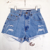 Size 3/4 High Waisted Denim Shorts Ripped Distressed Jean Shorts