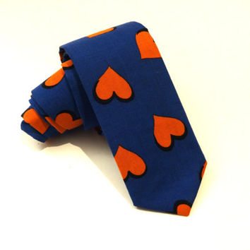 Blue Necktie with Red Hearts Pattern, Valentine's Day Necktie, Valentine Necktie, Narrow Tie, Skinny Tie, Blue Tie, Mens Tie, Mens Necktie