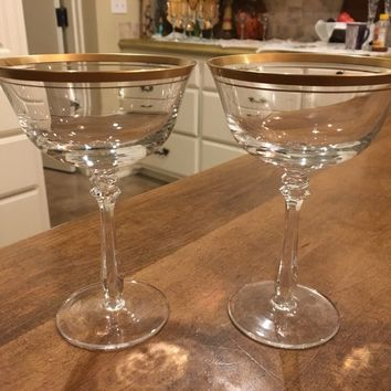 "Set of 2 - Mikasa Wheaton 6 1/2"" Crystal Cordial Glasses Gold Rim Germany"