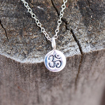Tiny om necklace - tiny silver om . sterling silver delicate chain . simple, modern yoga jewelry . meditation & mindfulness