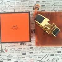 Authentic Hermes Clic Clac Wide PM in black Bracelet with gold hardware Bangle