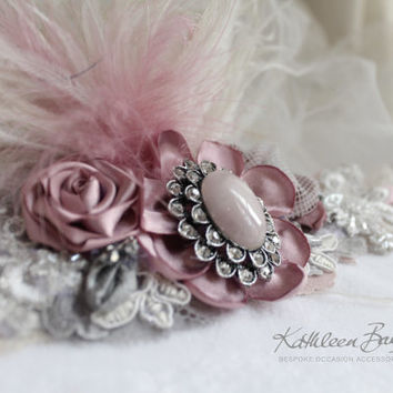 R1200 - Rose pink - Gatsby inspired headband hints of grey and Ivory with feather detail - colors to order