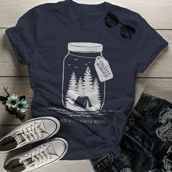 Women's Camping T Shirt Mason Jar Graphic Tee Collect Moments Hipster Shirts Tent TShirt Camper