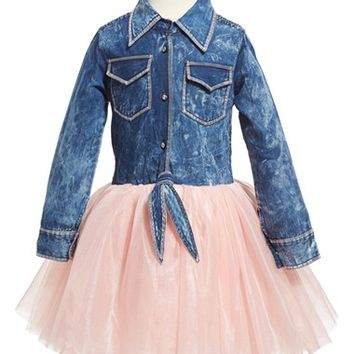 Girl's Ooh! La, La! Couture Denim & Tulle Dress,