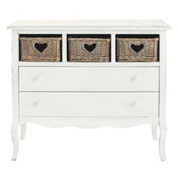 Wooden heart chest of drawers in white W 90cm Gabrielle | Maisons du Monde