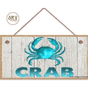 "Blue CRAB Sign, Weathered Beach Wood and Rope Border Graphic, Weatherproof, 5""x10"" Wall Plaque, Beach House, Ocean and Sea, Made To Order"