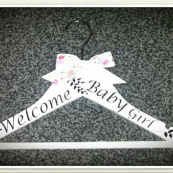Personalised New baby girl dress hanger, New baby, Christening grown, Welcome baby, any name can be added, any bow Request taken