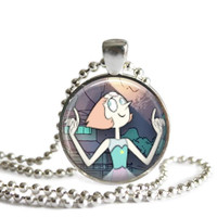 Steven Universe Pearl 1 Inch Silver Plated Picture Pendant 24 Inch Necklace