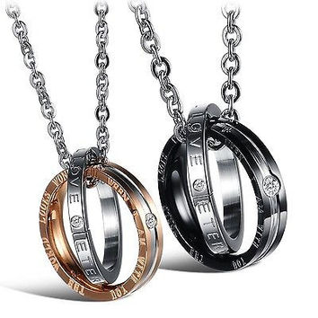 His & Hers Matching Set Titanium Stainless Steel Couple Pendant Necklace Kore...