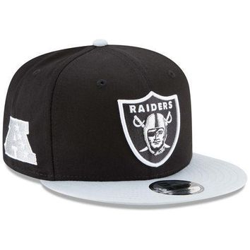 New Era Oakland Raiders Baycik Snapback Adjustable Hat - Black/Silver - NFL