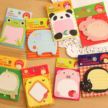 Korean Cartoon Animal Sticky Notes Creative Post Notepad Filofax Memo Pads Office Supplies School Stationery Scratch