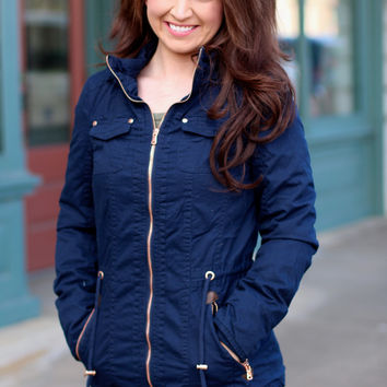 Military Babe Coat with Fur Lining {Navy}